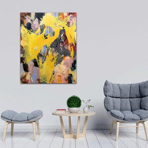 "Abstract expressionist art  with two grey chairs and a table - modern artwork ""Flashlight"". A modern acrylic painting by abstract artist Anja Stemmer. Visit my Picture Shop for affordable art online: Buy abstract paintings, modern acrylic paintings and works of abstract art on canvas or paper online. My high quality abstract art designs are hand painted."