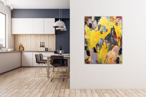 "Abstract expressionist art at the wall of a nordic kitchen- modern artwork ""Flashlight"". A modern acrylic painting by abstract artist Anja Stemmer. Visit my Picture Shop for affordable art online: Buy abstract paintings, modern acrylic paintings and works of abstract art on canvas or paper online. My high quality abstract art designs are hand painted."