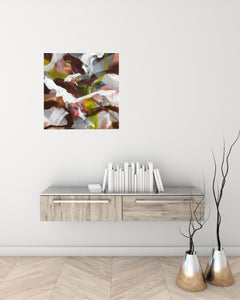 "Abstract expressionist art over a shabby shic white/wood sideboard - modern artwork ""Unseen Landscape I"". A modern acrylic painting by abstract artist Anja Stemmer. Visit my Picture Shop for affordable art online: Buy abstract paintings, modern acrylic paintings and works of abstract art on canvas or paper online. My high quality abstract art designs are hand painted."