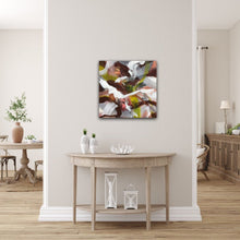 "Load image into Gallery viewer, Abstract expressionist art in a landhouse style living room - modern artwork ""Unseen Landscape I"". A modern acrylic painting by abstract artist Anja Stemmer. Visit my Picture Shop for affordable art online: Buy abstract paintings, modern acrylic paintings and works of abstract art on canvas or paper online. My high quality abstract art designs are hand painted."