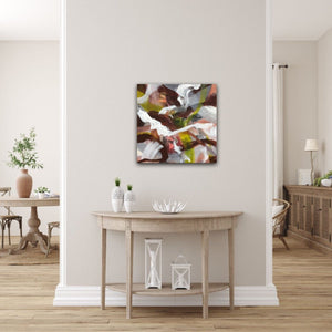 "Abstract expressionist art in a landhouse style living room - modern artwork ""Unseen Landscape I"". A modern acrylic painting by abstract artist Anja Stemmer. Visit my Picture Shop for affordable art online: Buy abstract paintings, modern acrylic paintings and works of abstract art on canvas or paper online. My high quality abstract art designs are hand painted."