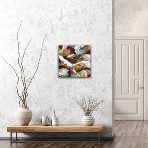 "Abstract expressionist art in a nordic design living room - modern artwork ""Unseen Landscape I"". A modern acrylic painting by abstract artist Anja Stemmer. Visit my Picture Shop for affordable art online: Buy abstract paintings, modern acrylic paintings and works of abstract art on canvas or paper online. My high quality abstract art designs are hand painted."