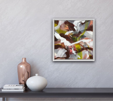 Abstract expressionist art on a grey shaded wall with two vases - modern artwork