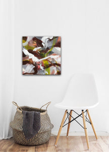 "Abstract expressionist art in an entrance area over a white chair and a basket- modern artwork ""Unseen Landscape I"". A modern acrylic painting by abstract artist Anja Stemmer. Visit my Picture Shop for affordable art online: Buy abstract paintings, modern acrylic paintings and works of abstract art on canvas or paper online. My high quality abstract art designs are hand painted."