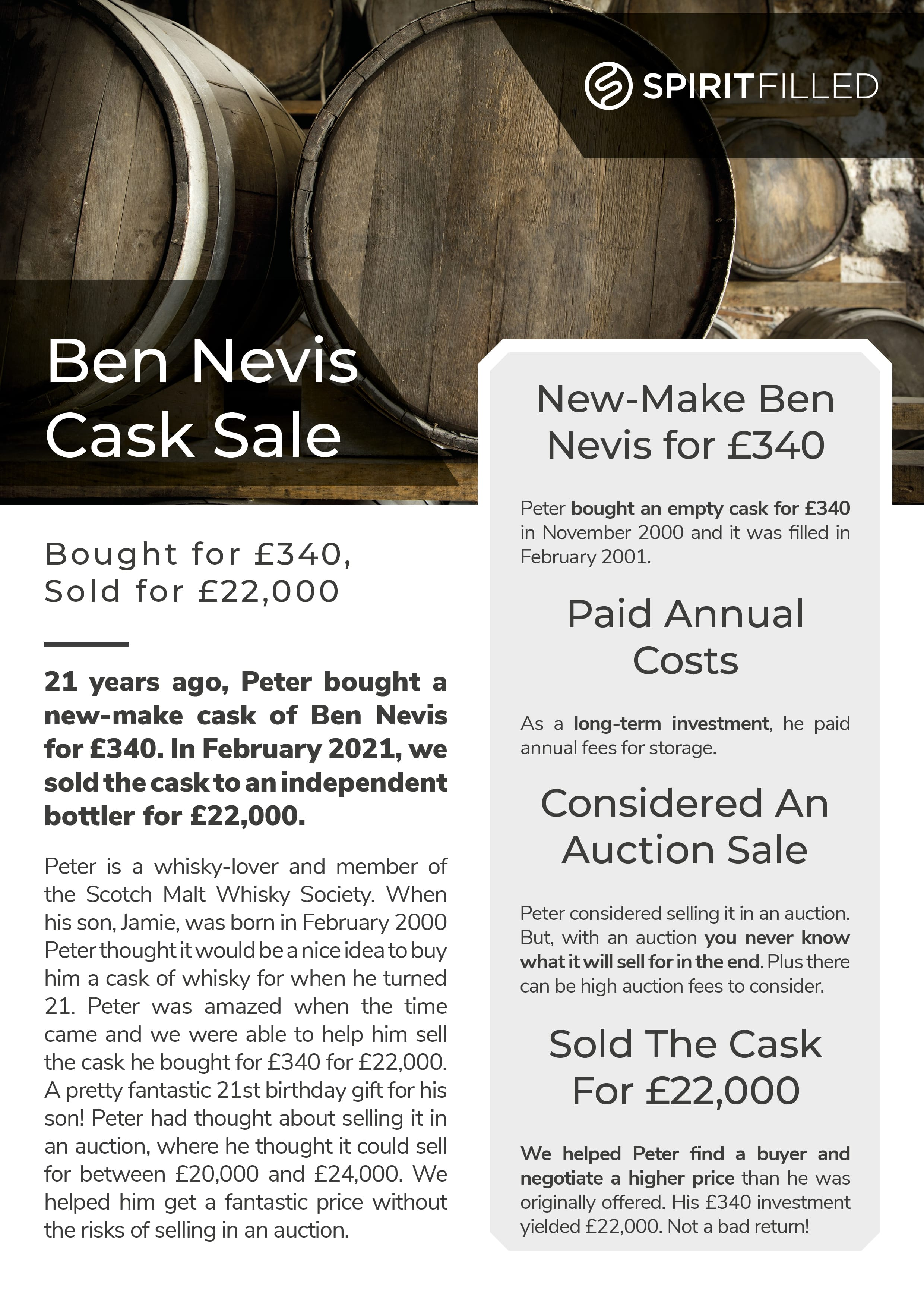 Whisky Cask Sold As An Investment Case Study from Spiritfilled
