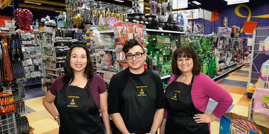 3 party stuff staff in the store