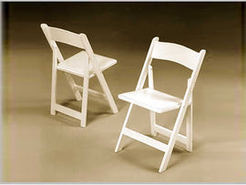 Rental - Bright White Resin Folding Chair, each