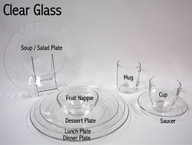 Rental - Clear Glass Fruit Nappie, dozen