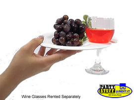 "Rental - White 9"" Cocktail Plate with Wine Glass Holder, dozen"