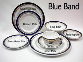 "Rental - Blue Band 9"" Lunch / Salad Plate, dozen"