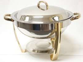 Rental - 4 litre Round Chafing Dish with Gold Trim, each
