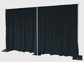 "Rental - 48""W x 10'H Black Banjo Drape, each"