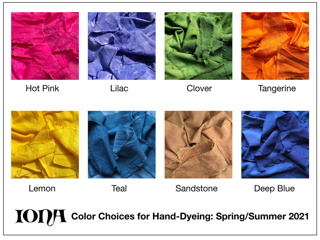 IONA Clothing Color Choices for Hand-Dyeing: Spring/Summer 2021