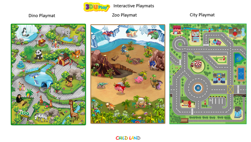 3DUPlay - Set of 3 Interactive Playmats - Dino, City and Zoo