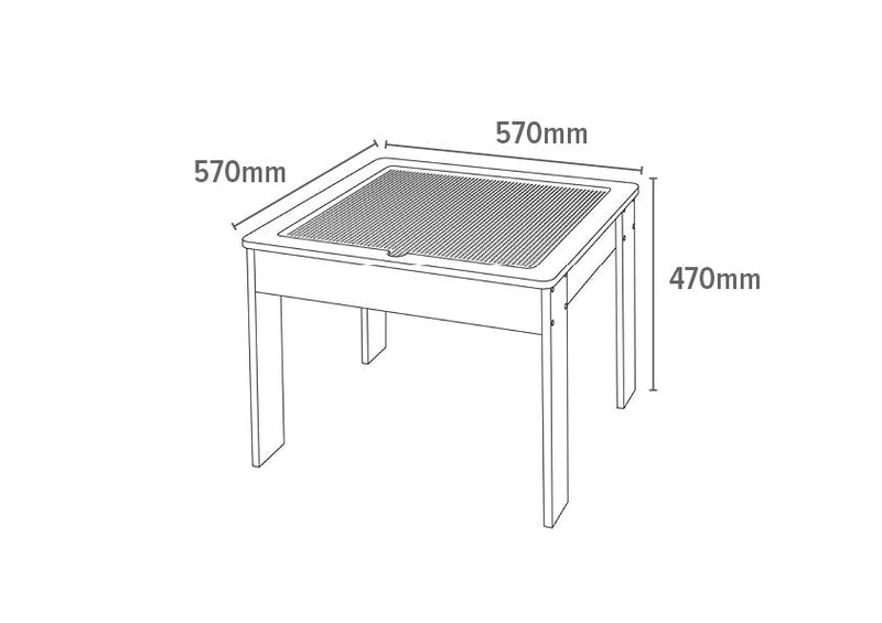 Wooden Activity Table with Reversible Top - Dimensions