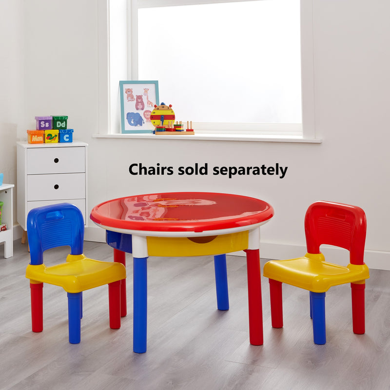 3-in-1-round-activity-table-lifestyle-red-top-with-699-set-of-2-chairs at Child Land