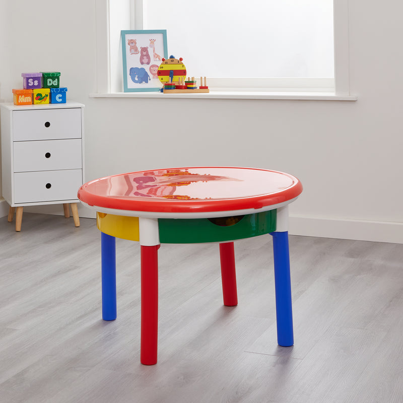 3-in-1-round-activity-table-lifestyle-red-top at Child Land