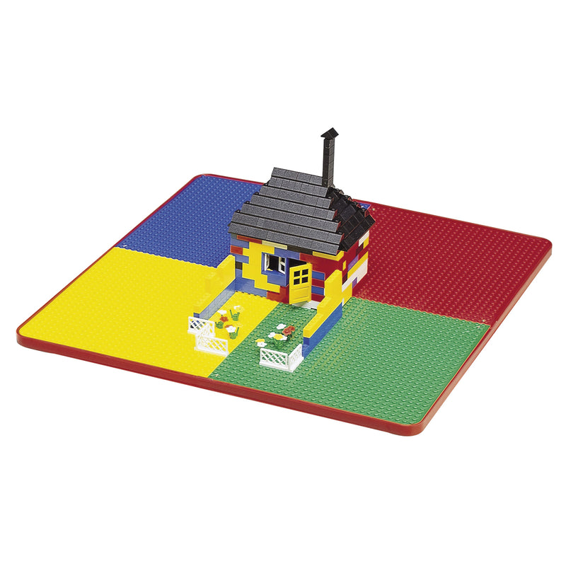 Multi-coloured-activity-table-and-2-chairs-red-top at Child Land-close-up-lego-top