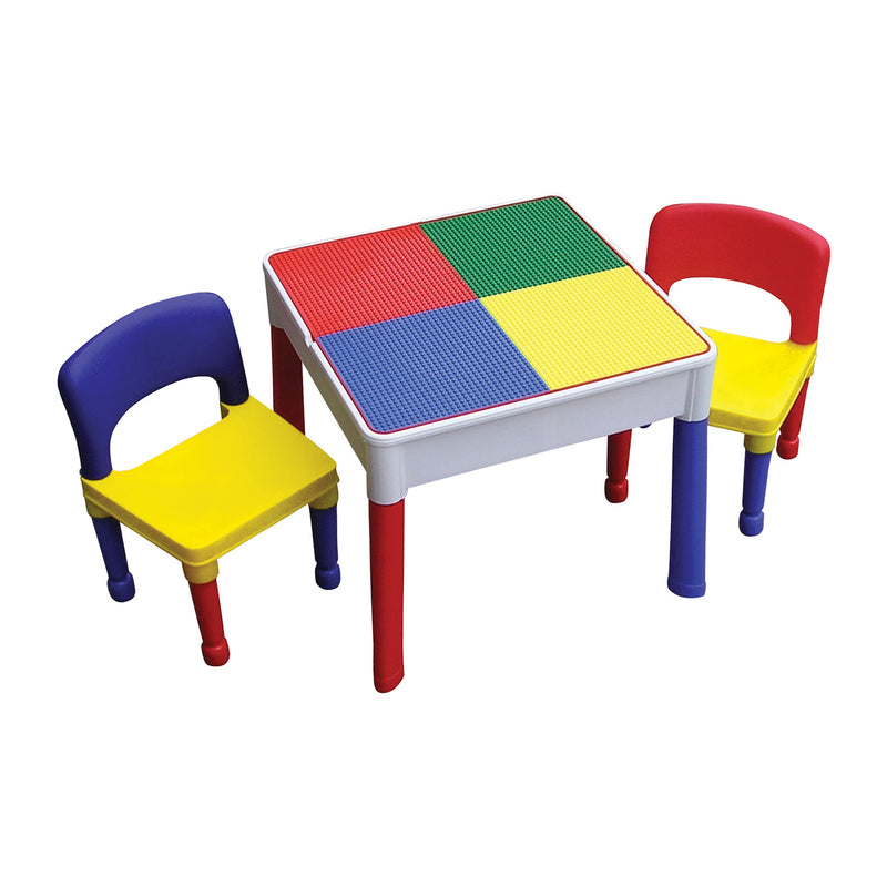 Multi-coloured-activity-table-and-2-chairs-red-top at Child Land - lego-top