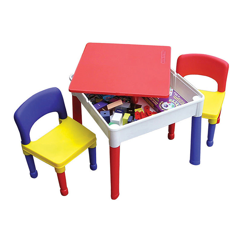 Multi-coloured-activity-table-and-2-chairs-red-top at Child Land