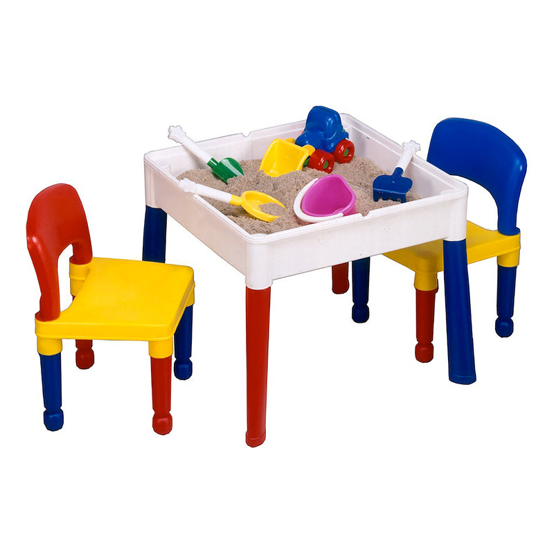 Multi-coloured-activity-table-and-2-chairs-red-top at Child Land - sand-play
