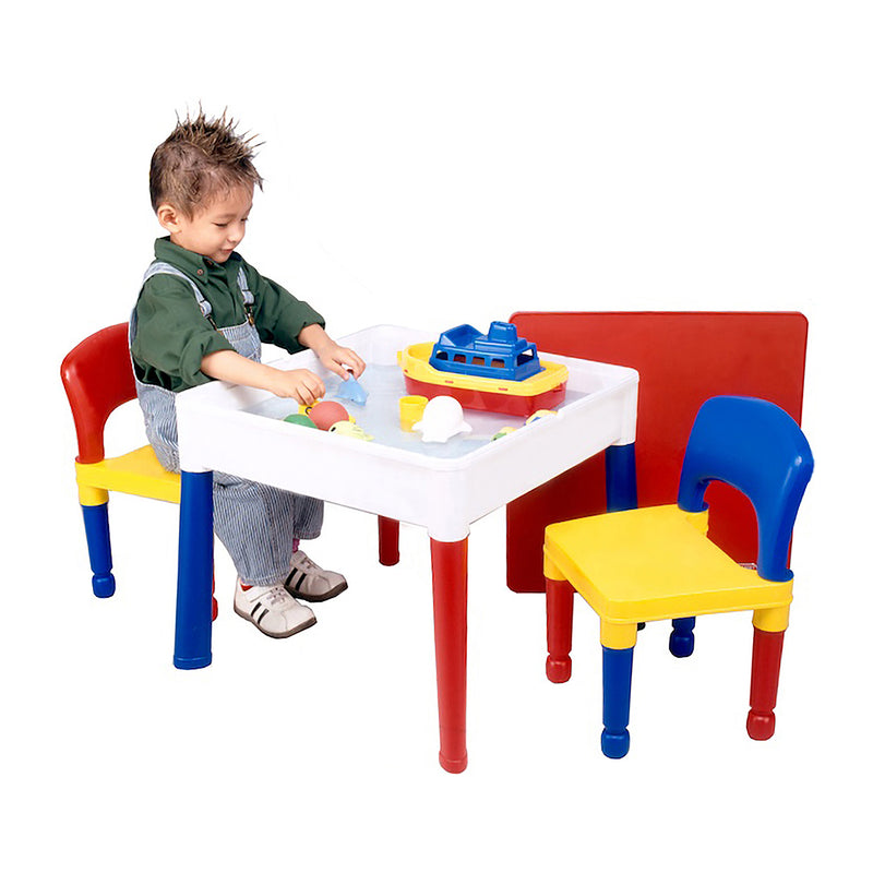 Multi-coloured-activity-table-and-2-chairs-red-top at Child Land - water-play