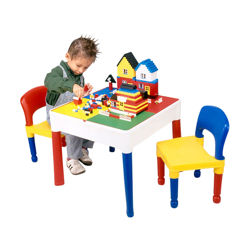 Multi-coloured-activity-table-and-2-chairs-with-boy-lego