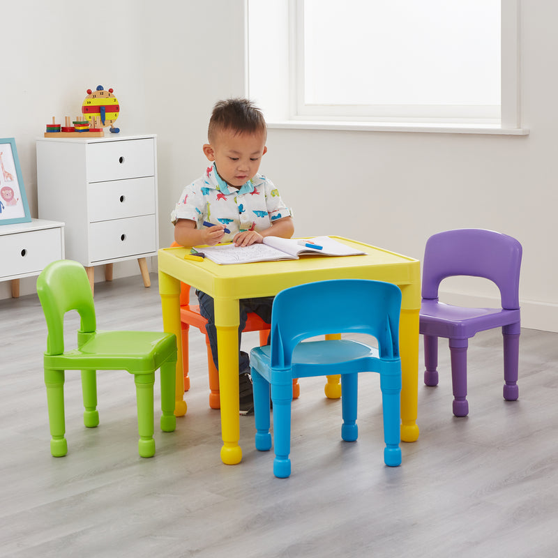 Children's Multi-Coloured Table and 4 Chair Set at Child Land