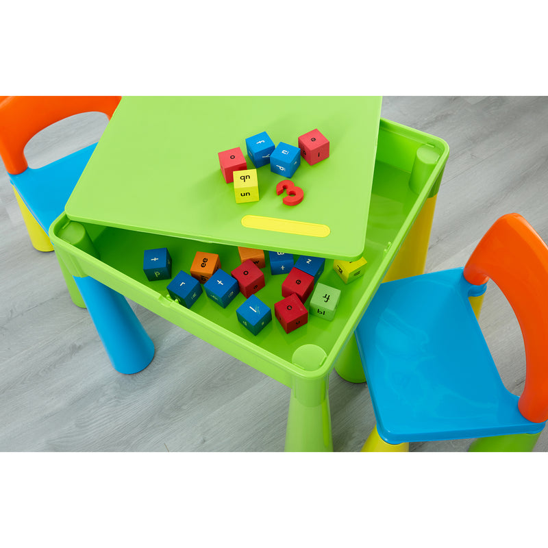 multi-coloured-table-and-2-chairs-lifestyle-close-up-storage-blocks at Child Land