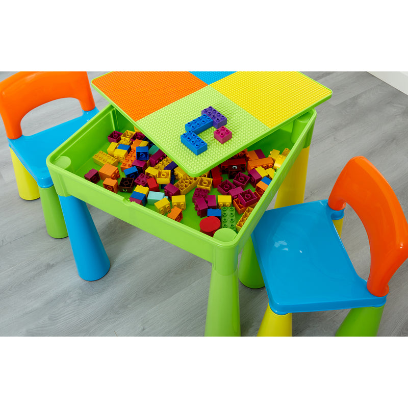 multi-coloured-table-and-2-chairs-lifestyle-close-up-storage-lego at Child Land