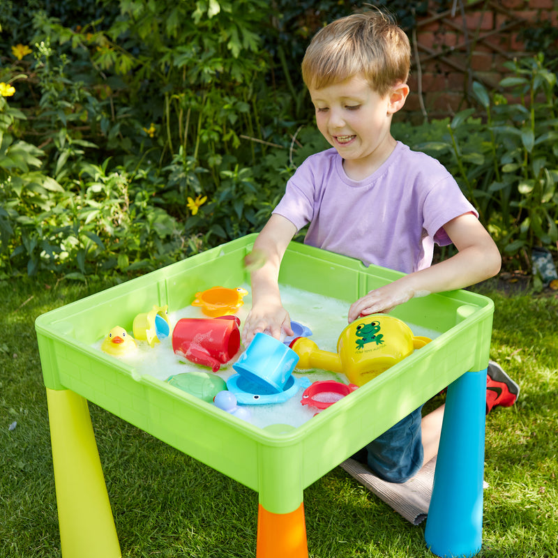 multi-coloured-table-and-2-chairs-outdoor-water-play at Child Land