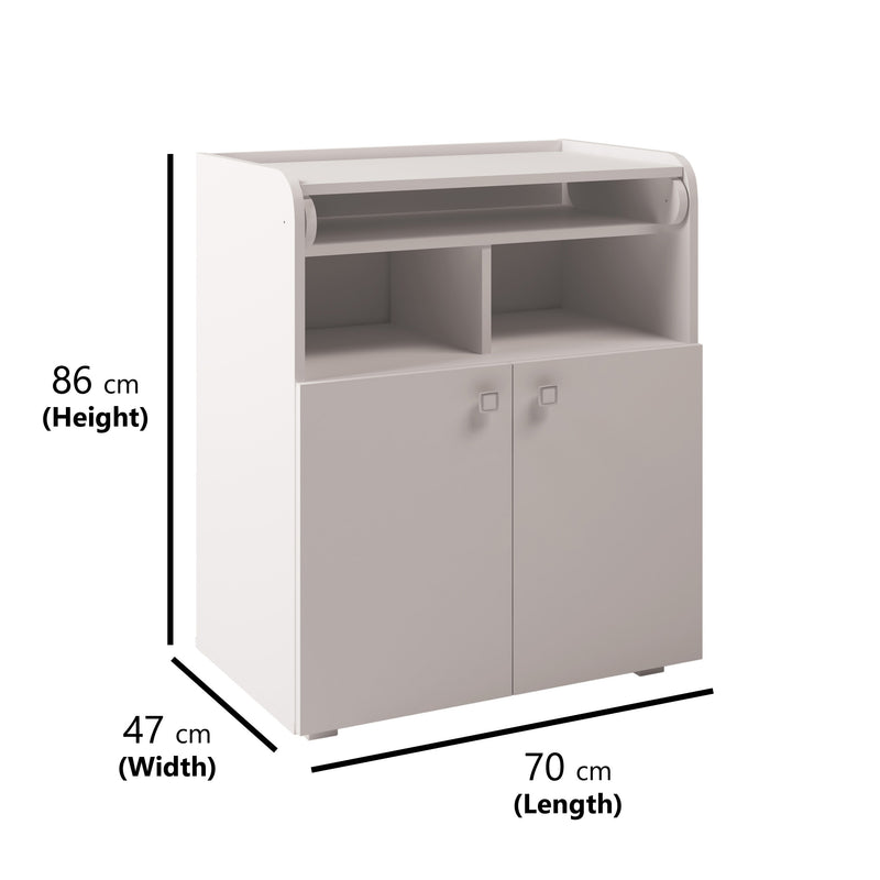 Changing Board Cupboard with Storage 1270 - White at Child Land -  Dimensions