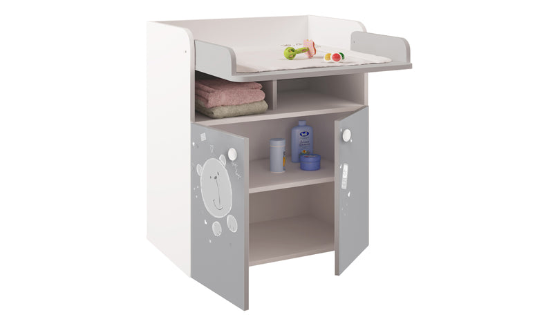 Changing Board Cupboard with Storage 1270, Teddy Print - White/Grey at Child Land