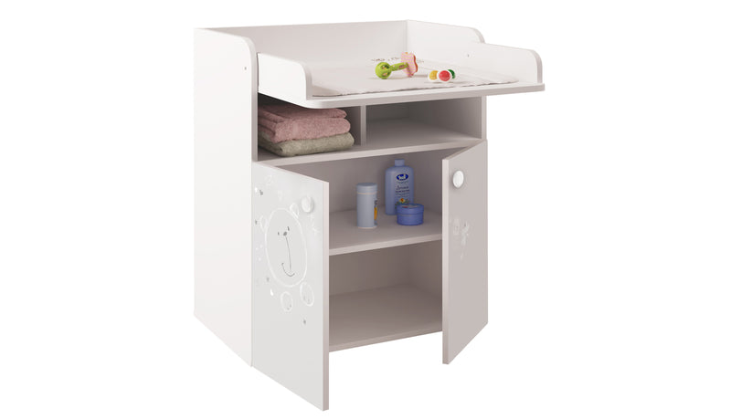 Changing Board Cupboard with Storage 1270, Teddy Print - White at Child Land