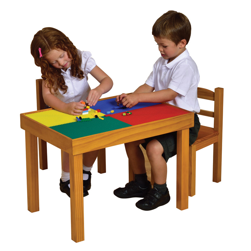 Multipurpose (Whiteboard-Blackboard-Lego top) Wooden Table & Chairs Set at Child Land