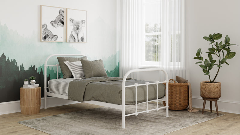 Orea Single 3ft Metal Bed - White at Child Land