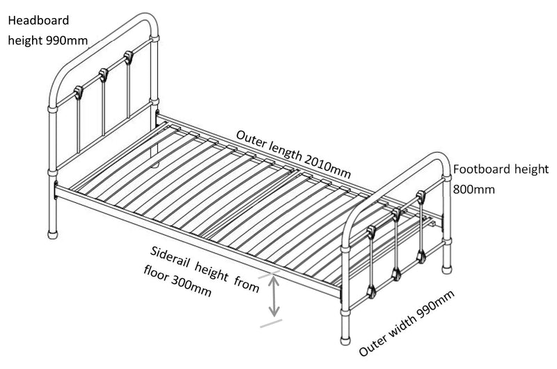 Orea Single 3ft Metal Bed - White at Child Land  -  Dimensions