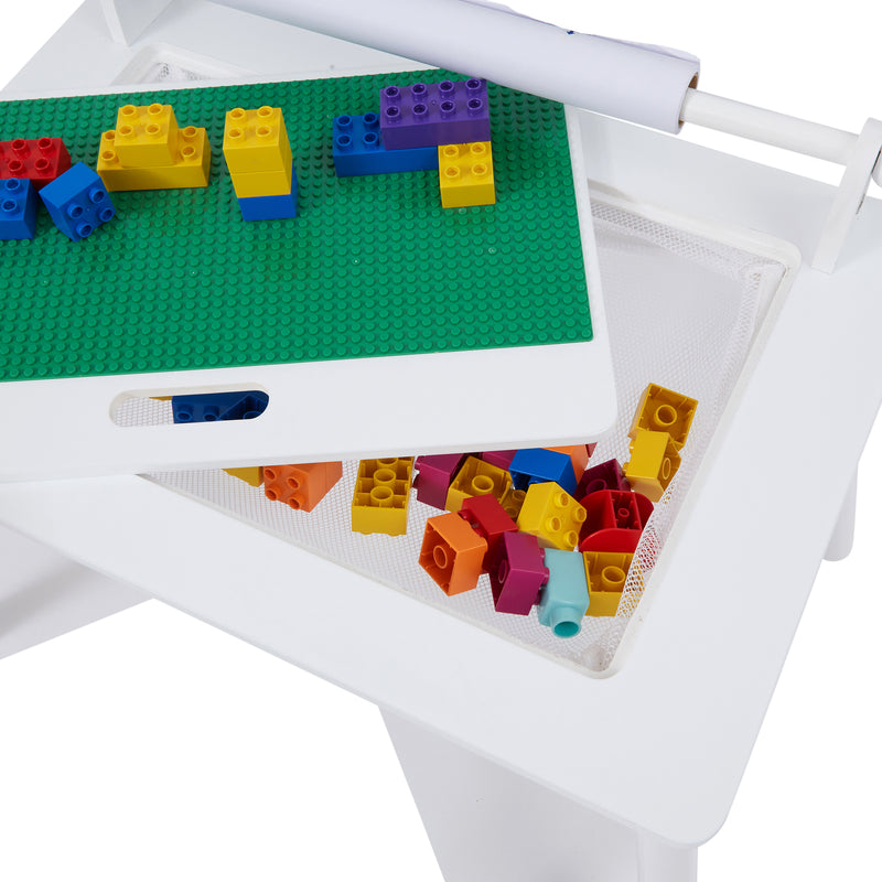 White Writing Table & Chair with Lego board at Child Land