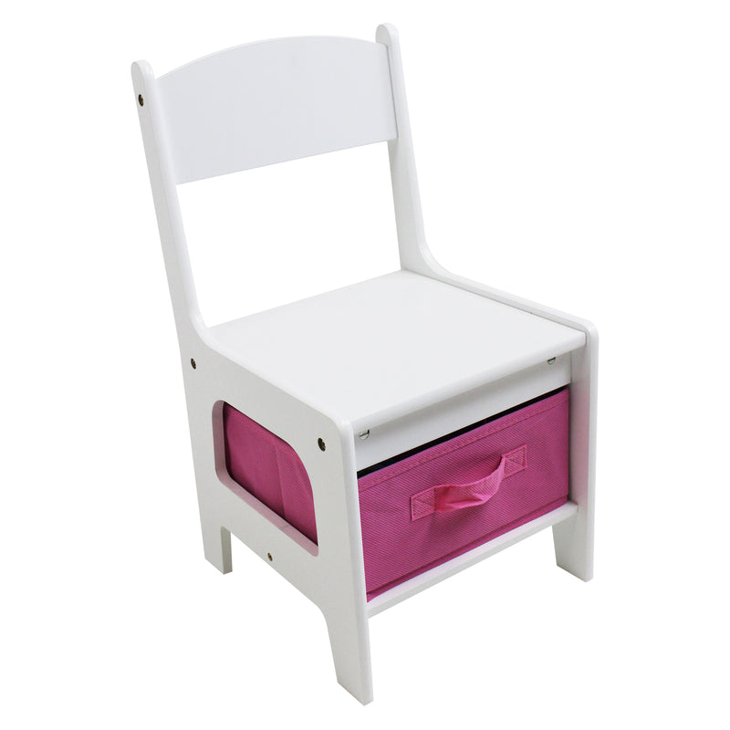 White Table and Chair Set with Pink Bins - Chair at Child Land