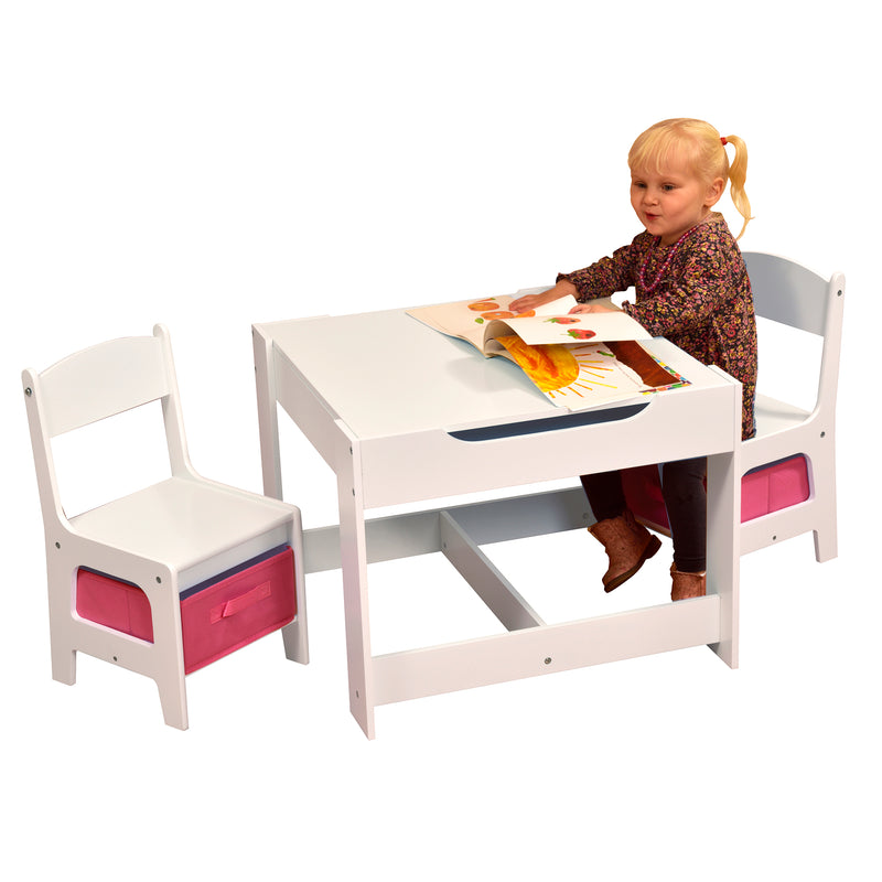 White Table and Chair Set with Pink Bins