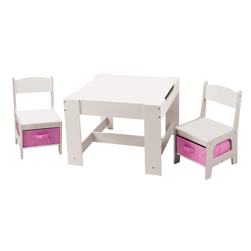 White Table and Chair Set with Pink Bins at Child Land