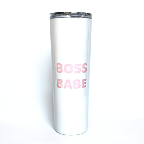 """Boss Babe"" White Stainless Steel Skinny Tumbler - Dog Influencers"