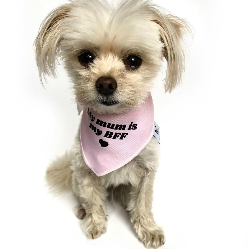 """My mum is my BFF"" Pink Dog Bandana - Dog Influencers"