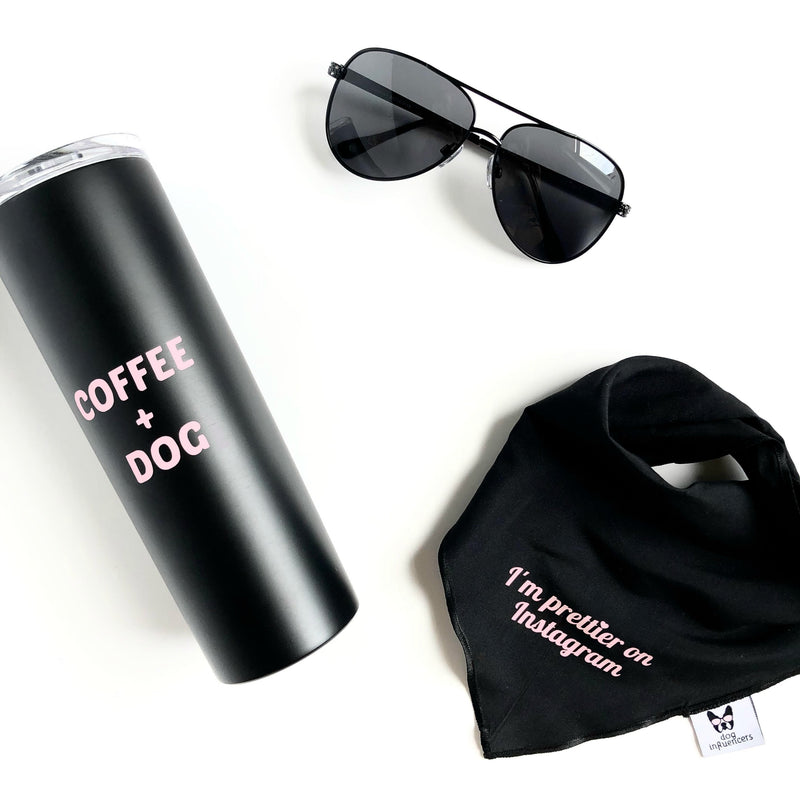 """Coffee + Dog"" Black Stainless Steel Skinny Tumbler - Dog Influencers"