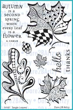 Tangle leaves stamp set