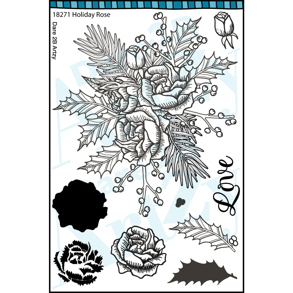 Holiday Rose Stamp Set