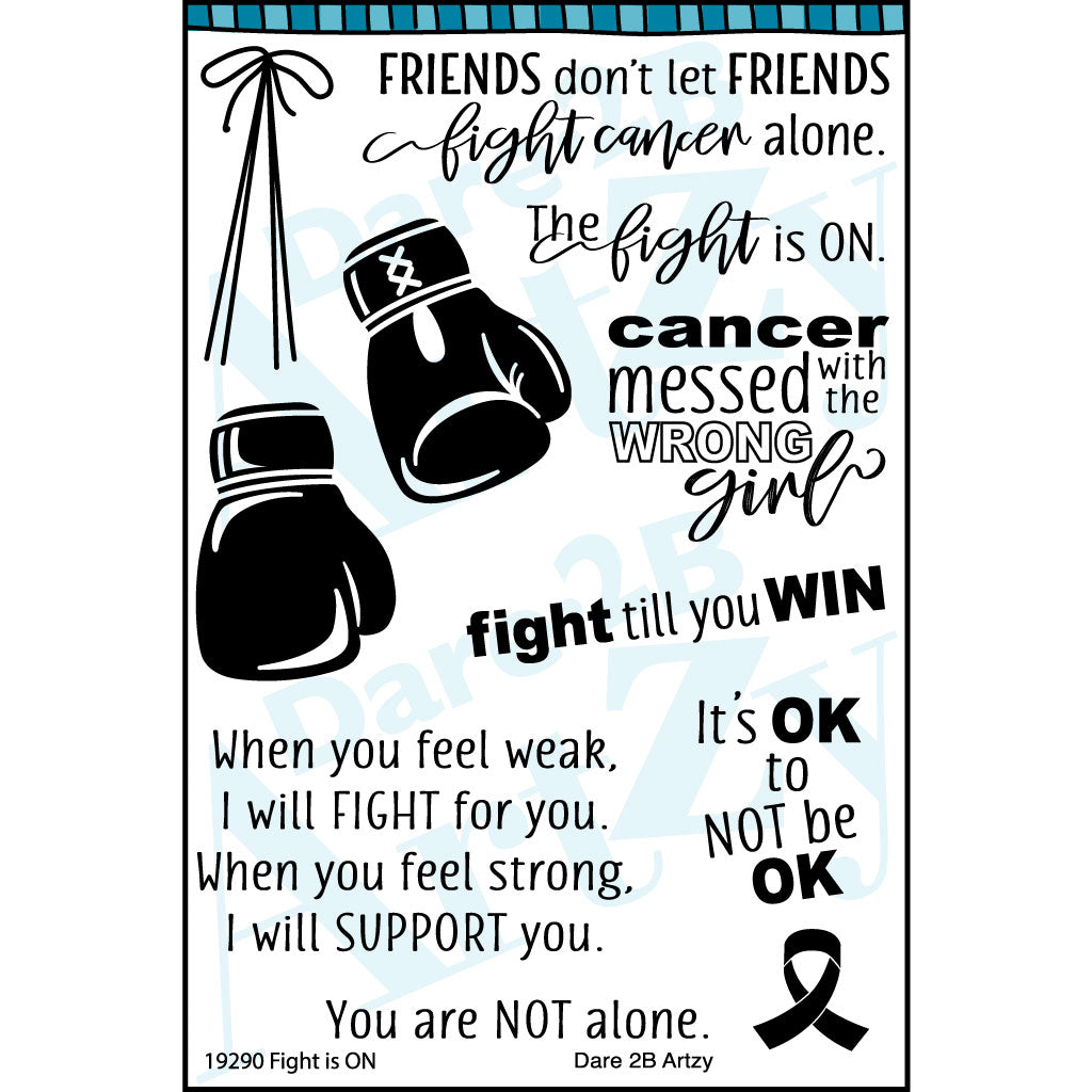 Clear stamp with boxing gloves, cancer ribbon and encouraging words of strength.