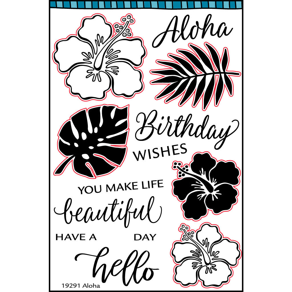 Clear stamp with Aloha, hello, birthday wishes and hibiscus images.