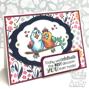 handmade card with love bird clear stamp set for anniversary card