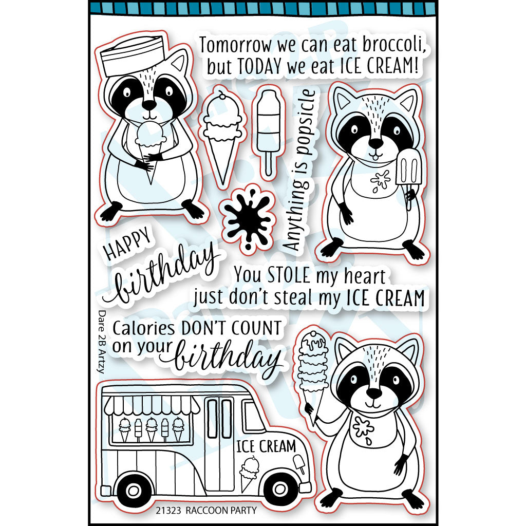 Raccoon Party Stamp Set